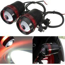 Pair 12V 30W Motorcycle U3 LED Driving Fog Spot Headlight Red Angel Eye Lamp