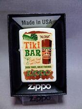 """Zippo """" Tiki bar """" - White MATE - NUEVO Y EMB. orig. - #619"""