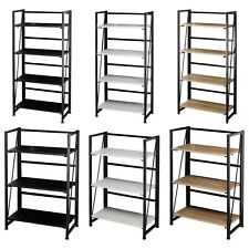 Wood & Metal Folding Ladder Shelf Collapsible Unit Office Storage Rack Bookcase