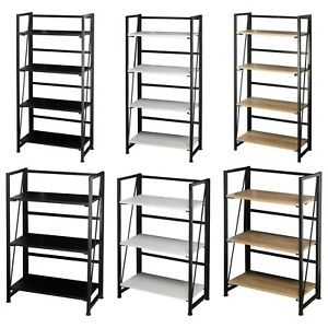 Wood & Metal Folding Ladder Shelf Collapsible Unit Office Storage Rack Bookcase