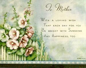 "Vintage Buzza Framed Print Mother Poem 1939 Hollyhocks 4.5 X 6.5"""