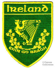 ERIN GO BRAGH embroidered IRELAND IRISH iron-on PATCH COAT OF ARMS EMBLEM HARP