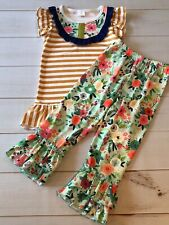 Girls Boutique Ruffled Tunic & Pants Set, Floral & Stripes, Adoarable! NEW! 4T