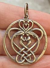 Designer Signed Sterling Celtic Knot Round Charm Pendant w/Kneeling Couple Heart