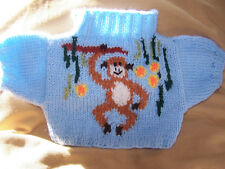 BN HAND KNITTED  JUMPER WITH MONKEY IN JUNGLE TO FIT BUILD A BEAR