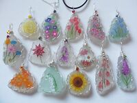 NEW DESIGNS Sea glass flower necklaces - Wildflowers hand painted wire wrapped
