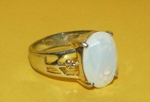 "~""925""~STERLING~SILVER~w/~FACETED~""MOONSTONE~OPALINE""~ORNATE~DESIGN~RING~SIZE~9~"