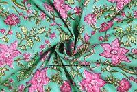 Sanganeri Running Indian Hand Block Print Pure 100% Cotton Fabric Green By Yard