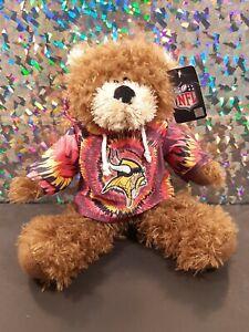 """Minnesota Vikings NFL Plush Bear 13"""" w/ Tie Die Sweater 2010 Good Stuff NWT New!"""