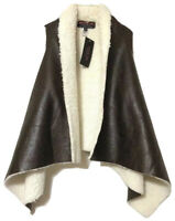 Active USA Collection Womens Brown Faux Leather Lined Open Front Vest Size Small