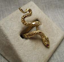 Vintage Estate Ring - Snake Motif - 14K Yellow Gold & Ruby Eyes 6.1g - Size 5