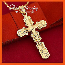 18K PLAIN GOLD FILLED P30 CRUCIFIX CROSS MENS WOMENS SOLID NECKLACE PENDANT GIFT