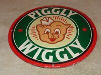 "VINTAGE 1948 ""PIGGLY WIGGLY GROCERY STORE"" 11 3/4"" PORCELAIN METAL GAS OIL SIGN"