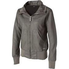 Nixon SATISFACTION II Gray Destressed Faux Leather Zip Up Womens Jacket Coat L