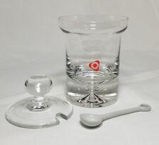 POLAND BLOWN GLASS JAM JELLY MUSTARD JAR LIDDED / PORCELAIN SPOON HAND MADE