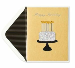 Papyrus Happy Birthday Card -Glitter-Sculpted Cake + Gem Flames Retails for 8.50