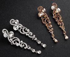 Women gold silver Crystal chandelier Long Bohemian Party Earrings Ear Hook Drops
