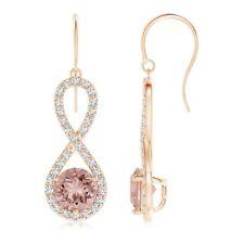 Morganite Stud Earrings Infinity Halo Diamonds 14k Rose Gold Fn High Quality