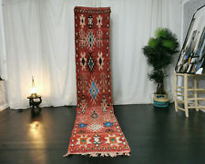 Moroccan Handmade Vintage Boujaad Runner Rug 2'x11'3 Red Floral Berber Wool Rug