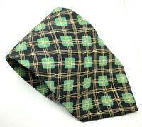 "HUGO BOSS Men's Tie Black Green Abstract 100% Silk 3.75"" Width 59"" Length"