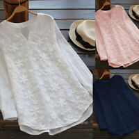 ❤ Womens Ladies Cotton Linen Tops Blouse Casual Loose Floral Long Sleeve T Shirt