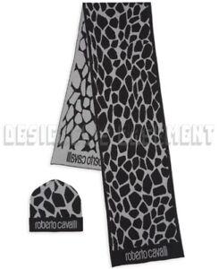 ROBERTO CAVALLI wool Gray/Black ANIMAL SPOTS scarf & hat Set NIB BOXED Auth $435