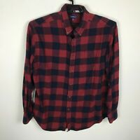 Croft & Barrow Lumberjack Plaid Flannel Shirt Mens Size L Long Sleeve Red Blue