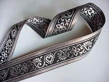 "SALE 6 YARDS of 1 1/2"" Metallic Silver & Black Renaissance Jacquard Ribbon Trim"