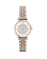 New Emporio Armani Classic Rose Gold White Silver Pave Women's Watch AR1926
