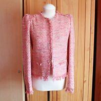 Mango Pink Tweed Boucle Jacket CoCo Style XS (UK Size 6-8)