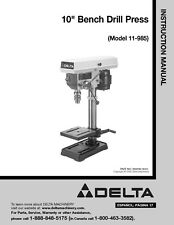 "Delta 11-985 10"" Bench Drill Press Instruction Manual FREE SHIPPING"