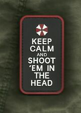 KEEP CALM AND SHOOT 'EM IN THE HEAD ZOMBIE 3D PVC HOOK Morale Military Patch