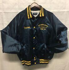 vintage Holloway Mens satin Jacket XL Blue Captain USS Rhode Island SSBN 740