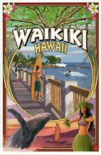 Waikiki Hawaii Honolulu Oahu Montage Whale Surfing Hula Dancer - Modern Postcard