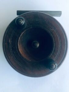 VINTAGE ANTIQUE WOODEN & BRASS FLY FISHING REEL