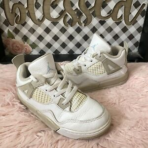 Nike Air Jordan IV 4 Retro White Linen Sand Toddler Shoes 705345-118 SZ 10C