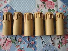 6 BOBECHES DOUILLES ANCIENNES EN BOIS--ÉTAT NEUF--8 CM DE HAUT--CULOT A VIS E14