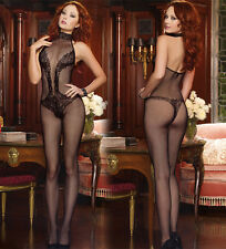 Fishnet V deep Crotchless Stocking Suspender Body stocking Lingerie Baby  N025