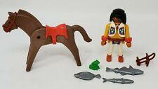Playmobil 1993 Lot of 7 Native American Warrior Horse 3 Silver Fish Loose EUC