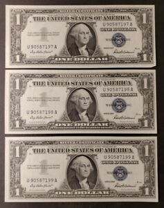 Lot of Three Sequential 1957 $1 Blue Seal Silver Certificates