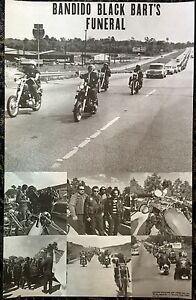 Bandido Black Bart's Funeral Poster Original 70's Motorcycle Club Run Chopper