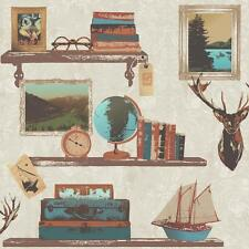 NEW RASCH STUDY BOOK SHELF PICTURE FRAME STAG DAMASK PATTERN WALLPAPER 228304