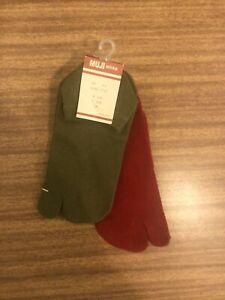 BNWT • MUJI • TABI SOCKS • 2 X PAIRS • KHAKI & RED • SIZE UK 4-6 EU 37-39 •