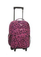Backpack Bag School Girls Pink Rolling Luggage Travel Leopard Design Print New