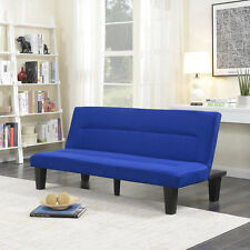 Microfiber Futon Folding Couch Sofa Bed Sleep Recliner Lounger Low Seat -Blue
