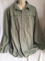 Cabelas 3X Guidewear Mens Shirt Long Sleeve Olive Green button Vented Fishing