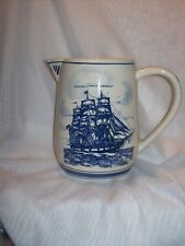 Blue Delfts Handpainted Made in Holland Large Pitcher w/ Ship and Whale Heavy