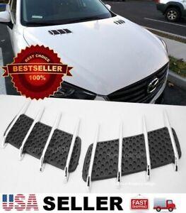 Black Bonnet Hood Engine Vent Grille Grill Louvered Scoop Cover Kit For Nissan
