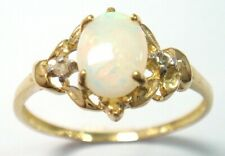 SYJEWELLERY 9CT SOLID YELLOW GOLD OVAL NATURAL OPAL & DIAMOND RING SIZE N R1326