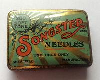 SONGSTER - rare needle tin with needles  Phonograph Grammophon Nadeldosen